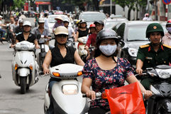Heavy traffic in Vietnam royalty free stock images