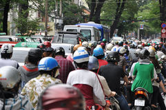 Heavy traffic in Vietnam Royalty Free Stock Photos