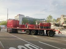 Heavy transport carrying the weights of a crane royalty free stock photos