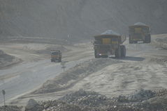 Heavy transport of rocks - mining in chile Royalty Free Stock Photography