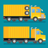 Heavy transport shipping truck. Transportation delivery icon. Flat design vector illustration. Royalty Free Stock Images