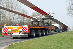 Heavy transport: Wind turbine transportation Stock Photo