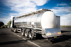 Heavy truck backside view. High contrast colors Stock Photo