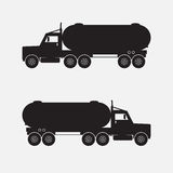 Heavy truck with chemical tank black color. Stock Photo