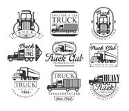 Heavy Truck Club Black And White Emblems. Classic Style Vector Monochrome Graphic Design Logo Set With Text On White Background Stock Photo
