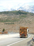 Heavy truck crossing mountain Royalty Free Stock Image