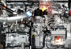 Heavy truck diesel engine. Close up stock images