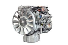 Heavy truck engine front view Stock Photography