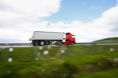Heavy truck on highway stock photography