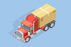 Heavy Truck Isometric Template. With carton parcel on blue background isolated vector illustration Royalty Free Stock Image