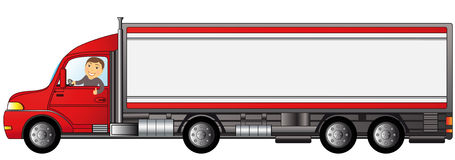 Heavy truck with man with space for text. Heavy truck with cartoon man showing thumb up with space for text Stock Image