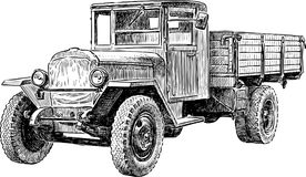 Heavy truck of the Second World War. Vector drawing of an old truck of the last century Stock Photography
