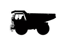 Heavy truck silhouette. In black and white Stock Photos