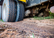 Heavy Truck stuck in the soft soil Stock Images
