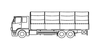 Heavy truck with tarpaulin  Stock Images