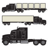 Heavy trucks silhouette set Stock Photos