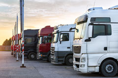 Heavy trucks with trailers stock image