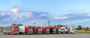 Heavy trucks with trailers Stock Photos