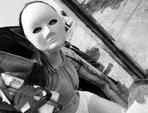 Heavy trucks and wearing a mask of driver-Black and white Stock Photography