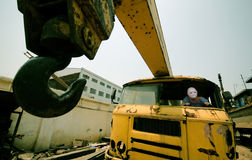 Heavy trucks and wearing a mask of driver Royalty Free Stock Photo