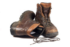Heavy used hiking boots Stock Image