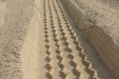 Heavy vehicle tire track on thick dust Royalty Free Stock Images