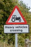 Heavy Vehicles crossing sign and signpost. In countryside Royalty Free Stock Photography