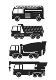 Heavy vehicles for different work. Icons of heavy vehicles: firetruck, tipper, concrete mixer and truck crane Stock Photos