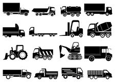 Heavy vehicles icons set Stock Photos