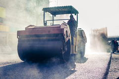 Heavy Vibration roller at asphalt pavement works Royalty Free Stock Images