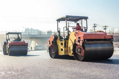 Heavy Vibration roller at asphalt pavement works Stock Photos