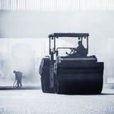 Heavy Vibration roller at asphalt pavement works Stock Photos