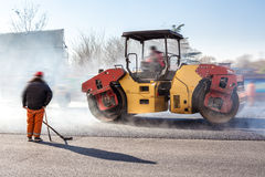 Heavy Vibration roller at asphalt pavement works Stock Photography