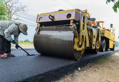 Heavy Vibration roller compactor Stock Images