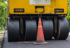 Heavy Vibration roller compactor at asphalt pavement works for road repairing Stock Photo
