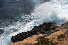 Heavy waves on the island Malta Stock Photos
