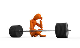 Heavy-weight. Orange mannequin with weight. Isolated Royalty Free Stock Images