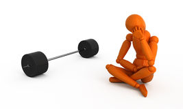 Heavy-weight. Orange mannequin with weight. Isolated Royalty Free Stock Photography