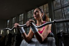 Heavy weight. Fit young woman in activewear trying to lift heavy weight during training in gym stock photos