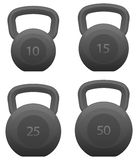 Kettlebells Set Isolated Vector Illustration. Heavy weight solid metal style fitness kettle bells, in sizes 10, 15, 25 and 50 pounds, isolated vector graphic for stock illustration