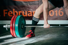 Heavy weights and powerlifting. And powerlifter prepares deadlift in competition Stock Photo