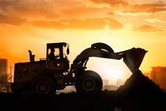 Heavy wheel excavator machine working Royalty Free Stock Image