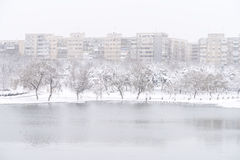 Heavy Winter Snow In Bucharest Stock Images