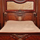 Heavy wood queen-size bed. With empty place stock photos