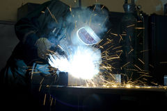 Heavy work. As the welder at factory Royalty Free Stock Images