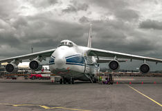 Heavy, the world's largest,  cargo plane Russian Ruslan on maintenance before departure Royalty Free Stock Photography