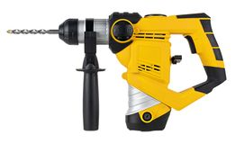 Heavy yellow black jack-hammer drilling drill machine hand tool isolated white background. Construction working industry tools. Heavy yellow black jack-hammer royalty free stock photography