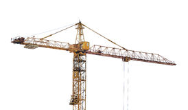 Heavy yellow hoisting crane isolate on white Stock Photography