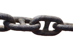 Heavyduty chain type. Close up of rusty heavy duty chain isolated on white background Royalty Free Stock Images