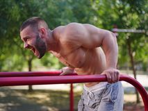 Athletic, handsome man bodybuilder working out on a blurred background. Building muscles concept. stock image